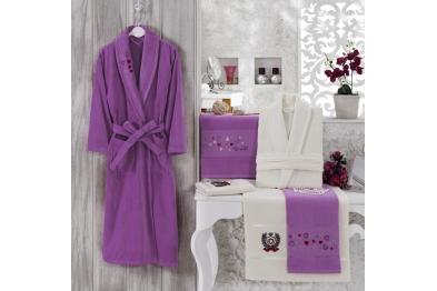 Embroidered Tufting Velvet Bathrobe Set Purple