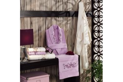 Embroidered Stony Velvet Bathrobe Set Lilac