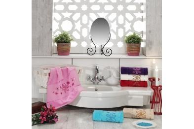 Embroidered Stony Velvet Hand Towel Set