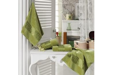 Jacquard Velvet Bath Towel Set Green