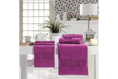 Jacquard Velvet Bath Towel Set Damsons