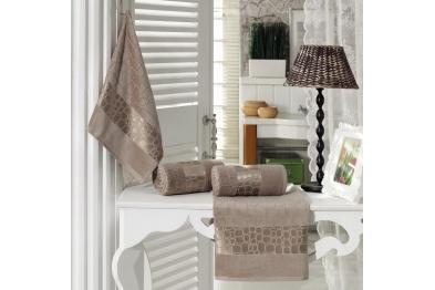 Jacquard Velvet Bath Towel Set light Brown