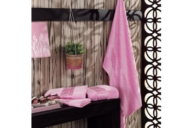 Jacquard Velvet Bath Towel Set Pink
