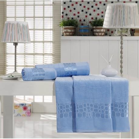 Jacquard Velvet Bath Towel Set Blue