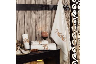 Embroidered Stony Velvet Bath Towel Set Cream