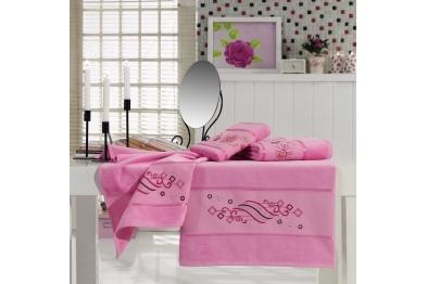 Embroidered Stony Velvet Bath Towel Set pink