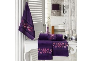 Embroidered Stony Velvet Bath Towel Set Purple