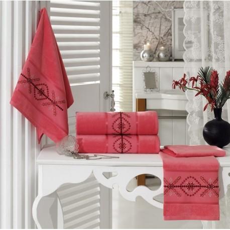 Embroidered Stony Velvet Bath Towel Set Coral