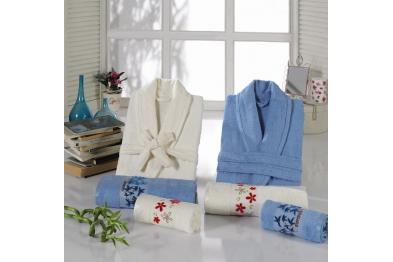 Embroidered Tufting Bamboo Bathrobe Set Blue