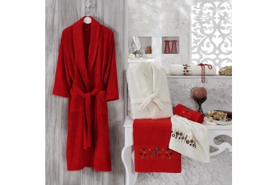 Embroidered Tufting Bamboo Bathrobe Set Red