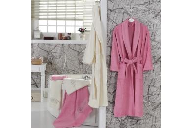 Bamboo Stony Bathrobe Set pink