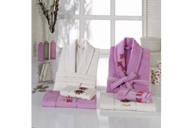 Embroidered Tufting Velvet Bathrobe Set Lilac