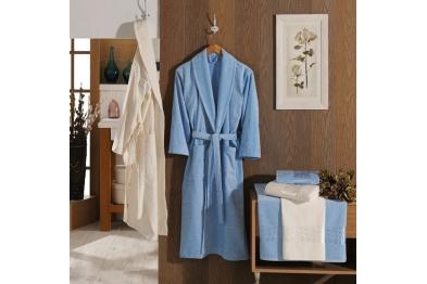 Stony Desing Jacquard Velvet Bathrobe Set Blue