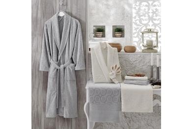 Jacquard Velvet Bathrobe Set Gray