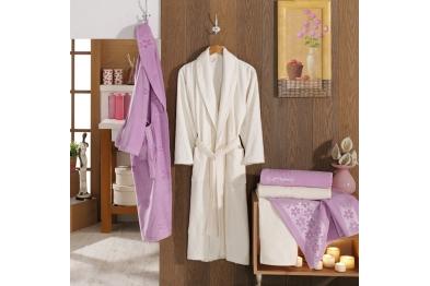 Jacquard Velvet Bathrobe Set Lilac