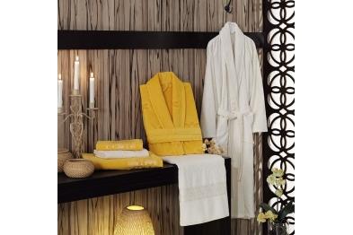 Jacquard Velvet Bathrobe Set Yellow
