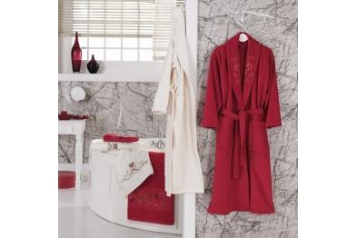 Embroidered Stony Velvet Bathrobe Set Red
