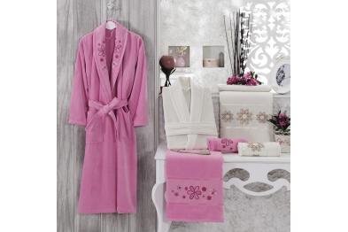 Embroidered Stony Velvet Bathrobe Set Pink